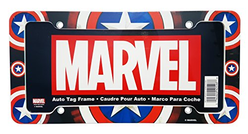 Marvel Comics Captain America Plastic License Plate Frame - Single (License Plate Frame Marvel compare prices)