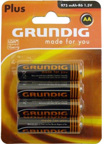 Grundig BATT-AA- R6-4 Zinc 1,5 V AA 975mAh 4xBattery Lot de 4 pièces
