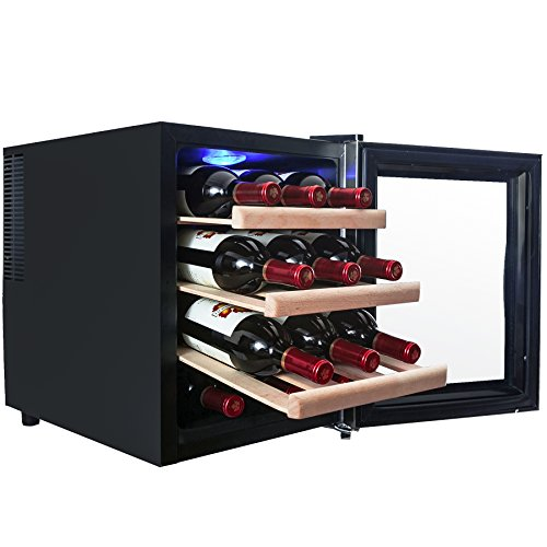 AKDY® 12 Bottles Thermoelectric LED Display Touch Temperature Control Counter Top Quiet Wine Chiller Cooler Cellar (Countertop Wine Refrigerator compare prices)