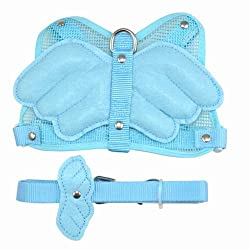 tinxs Adjustable Angel Wing Pet Dog Cat Safety Harness Lead Leash 2 Colors Size L/M/S (M, Blue)
