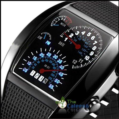 5b99d04fe RPM Turbo Blue White Flash LED Watch Brand NEW Gift Sports Car Meter Dial Men  Blue Light black Band black Ca