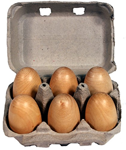 Creative Hobbies® 6 Wood Eggs in a Recyclable Egg Carton Package (Childs Play Food) - 1