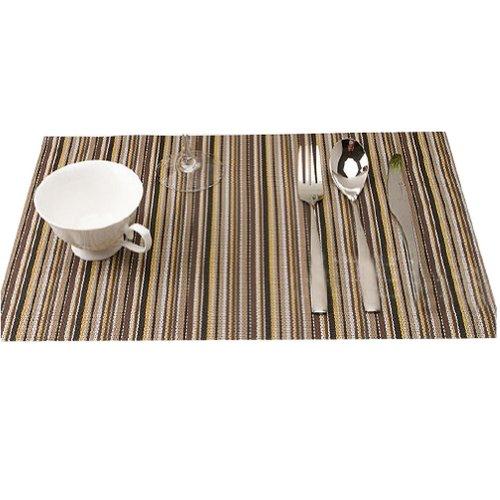Ayygift High-Grade Pvc Dining Room Stripe Placemats Antiskid Heat Insulation Eat Mat (#D3045-Coffee)