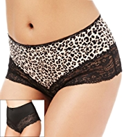 2 Pack Flatter-Me™ Light Control High Leg Brazilian Knickers