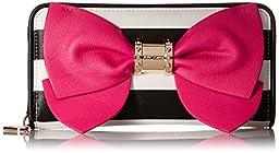 Betsey Johnson Ready Set Bow Wallet Clutch, Stripe, One Size