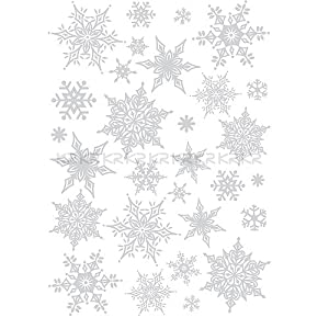 #!Cheap Easy Instant Decoration Wall Sticker Decal - Ornate Glittery Silver Snowflakes