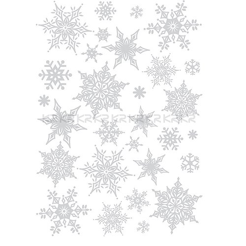 Christmas Holiday Time Reusable Wall Decoration Stickers - Ornate Glittery Silver Snowflakes