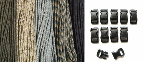 """550 Paracord Kit - Five Colors (Olive Drab, Acu, Woodland Camo, Desert Camo, & Black) 100 Feet Total W/10 3/8"""" Black Side Release Buckles front-653813"""