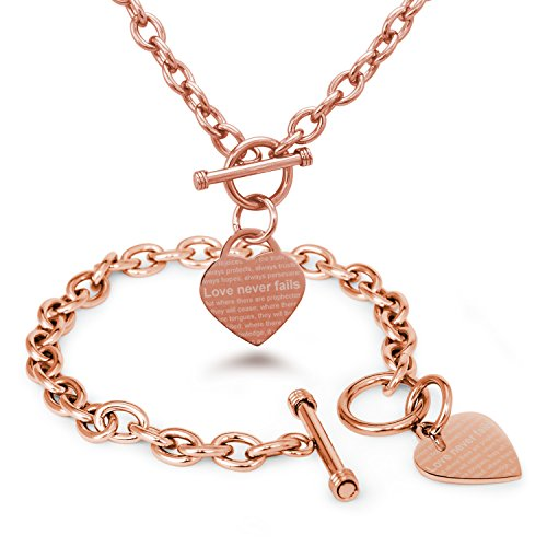 rose-gold-plated-stainless-steel-love-never-fails-1-corinthians-13-6-8-heart-charm-bracelet-and-neck