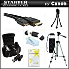 Starter Accessories Kit For The Canon PowerShot SX40 HS, SX40HS, G1 X, G1X, SX50 HS, SX50HS, SX60HS, SX60 HS, Powershot G15, Powershot G16 Digital Camera Includes Carrying Case + 50 Tripod w/ Case + Mini HDMI Cable + USB 2.0 Reader + Mini Tripod + More