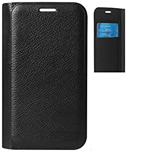 Ascari Original Full Artifical Leather flip with Name Printed of the Company flip cover for vivo Y27 Black