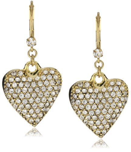 Betsey Johnson Gold-Tone Crystal Heart Drop Earrings