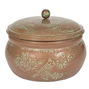 CobraCo Bird Motif Copper Finish Hose Holder with Lid HHEBR