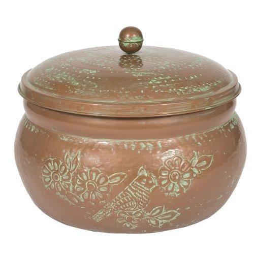 attractive multi use copper finish decor garden hose storage holder pot with lid ebay
