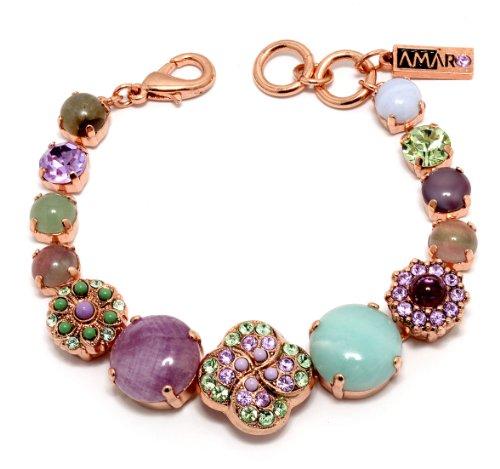 Israeli Amaro Jewelry Studio 'Spring Vibration' Collection 24K Rose Gold Plated Bracelet with Flower Links, Fancied with Cape Amethyst, Purple Jadeite, Variscite, Labradorite, Swarovski Crystals