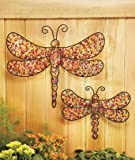 Set of 2 Dragonfly Beaded Garden Wall Decoration