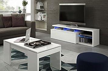 Módulo bajo o Mesa de TV con iluminación LED color blanco brillo para television, moderno, 150 cm