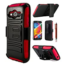 buy Cover-U® Samsung Galaxy Avant G386 Extreme Rugged Dual Layer Kickstand Combo Case With Belt Clip Holster Red/Black Included [Premium Screen Guard + Cover U (Tm) Stylus Pen + Anti-Dust Plug]
