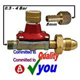 Lpg Gas Hose Regulator Propane Bottle 0.5 - 4 Bar & 8mm Tail
