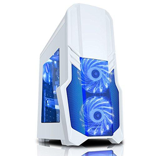 CiT Boîtier de gaming G Force avec 15LED Bleu Ventilateur avant-Blanc