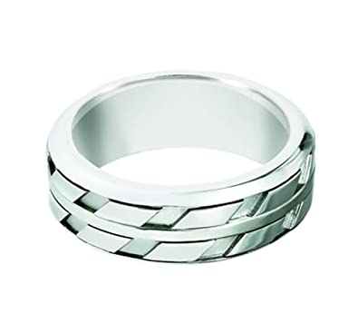 Sterling Silver, Striped Pattern Engraved 8MM Band (sz H to Z3)