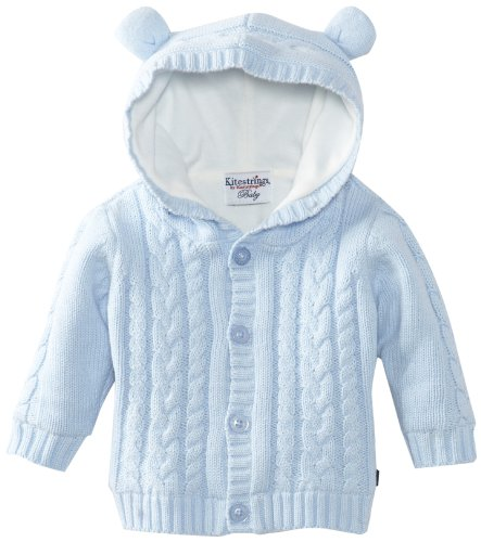 Hartstrings baby boys newborn hooded cotton sweater cardigan jacket with ears light blue 6 9