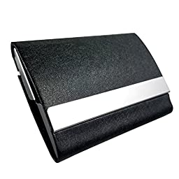 Business Card Holder By Apor - Oracle Grain Leather Business Card Case with Magnetic Shut To Keep Business Cards in Mint Condition - Black