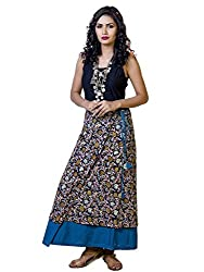 INDIAN AUGUST WOMEN'S COTTON SKY-BLUE REVERSIBLE WRAPAROUND SKIRT_S-3_BLUE_FS