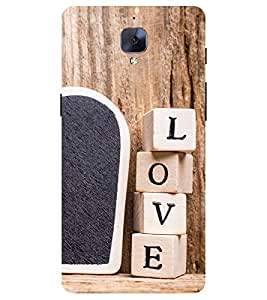 Chiraiyaa Designer Printed Premium Back Cover Case for One Plus 3 (boy girl friend valentine miss kiss heart wooden) (Multicolor)