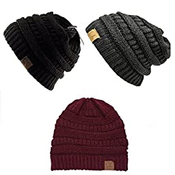 Trendy Warm Chunky Soft Stretch Cable Knit Slouchy Beanie Skully HAT20A (One Size, 3 Pack- BLACK/BURGUNDY/DARK GRAY)