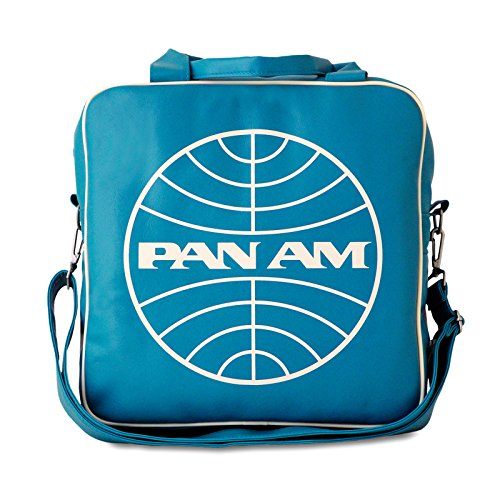 PAN AM Globe Record Shoulder Bag Retro Look with Logo Licensed with Metal Studs, High Quality Turquoise
