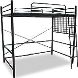 ロフトベッド パイプベッド 太めパイプ 2段階 高さ調節可能 シングル ブラック