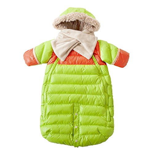 7AM Enfant Doudoune One Piece Infant Snowsuit Bunting, Neon Lime/Orange Peel, Small