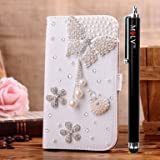 M LV HTC One X OneX Leather Diamond Bling crystal Folio Support Smart Case Cover With Card Holder & Magnetic Flip Horizontals - Pearl Butterfly Flower