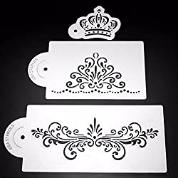 LussoLiv 3Pcs Crown Plastic Cake Stencil Cookie Biscuit Fondant Stencil Wedding Cake Decorating Tool