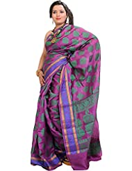 Exotic India Banarasi Saree With Woven Flowers And Border