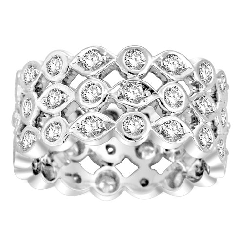 14k White Gold Diamond 3-Row Eternity Ring (1.50 cttw, H-I Color, I1-I2 Clarity), Size 6