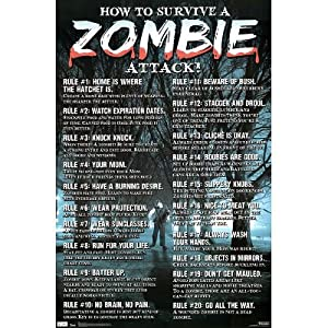 How To Survive a Zombie Attack Poster Print