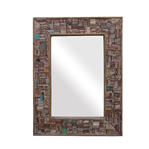 Indune's Handcrafted Reclaimed Wood Mosaic Wall Mirror Frame - Glass Not Included