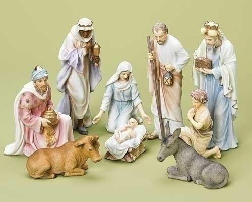 9-Piece Galleria Divina Religious Pastel Nativity Christmas Tabletop Figure Set