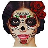 Glitter Red Roses Day of the Dead Sugar Skull Temporary Face Tattoo Kit - Pack of 2 Kits (Tamaño: adult)