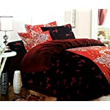 Red Black Floral Cotton Double Bedsheet With 2 Pillow Covers