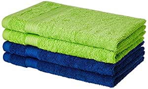 Solimo 100% Cotton 4 Piece Hand Towel Set, 500 GSM (Iris Blue and Spring Green)