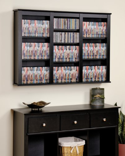 Prepac Triple Floating Media Wall Storage in Black