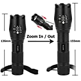 Wilker Super Bright Professional LED Tactical Flashlight Kit CREE XML T6 with Adjustable 5 Light Mode, 1000 Lumens Brightest Zoomable Focus