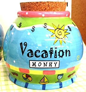 "Amazon.com: ""Vacation Money"" Jar Sunny Ceramic Green Cork Lid"