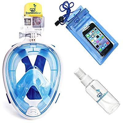 SnorkelinGear Snorkel Mask Set for Adults and Children - Full Face Easybreath Snorkeling Gear for Diving with GoPro Mount and 180° Sea View - Best Free Bonuses | Universal Waterproof Case and Anti-Fog Spray