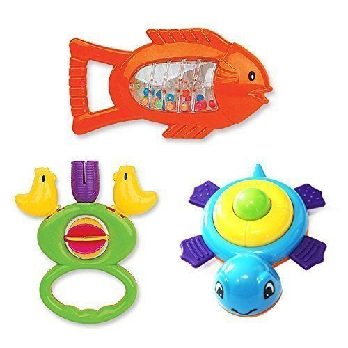 Wishtime-Babys-First-Rattle-and-Teether-Toy-3-pieces-Animal-Sharp-Assorted-for-Baby-Gift-Sets-Colors-May-Vary