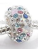 GJS 925 Sterling Silver Single Core, Swarovski Crystal White & Opal, Pink, Blue Charm Bead. To fit pandora, Chamilia, Biagi Bracelets Etc