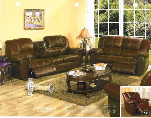 Cheap Brown leather sofa and love seat set with recliner ends and fold down table (8239BRO)